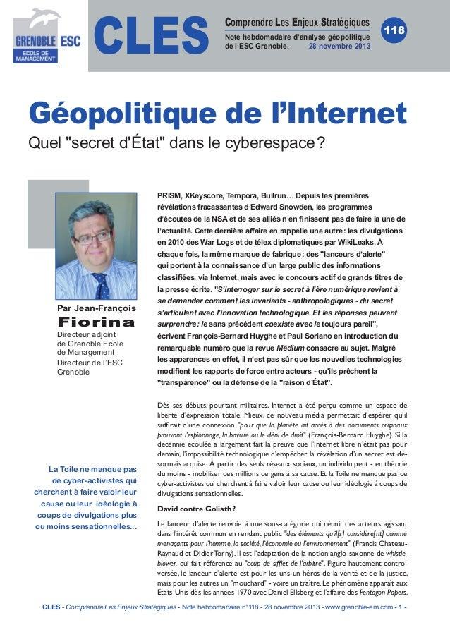 CLES  Comprendre Les Enjeux Stratégiques Note hebdomadaire d'analyse géopolitique de l'ESC Grenoble. 28novembre 2013  118...