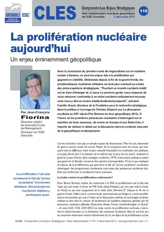 CLES  Comprendre Les Enjeux Stratégiques Note hebdomadaire d'analyse géopolitique de l'ESC Grenoble. 5 décembre 2013  119 ...