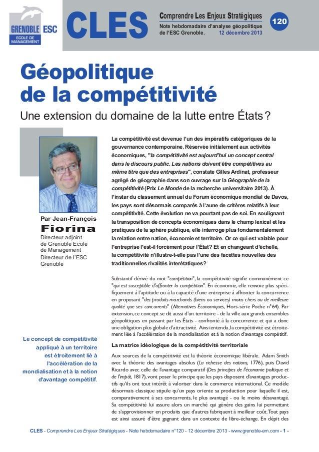CLES  Comprendre Les Enjeux Stratégiques Note hebdomadaire d'analyse géopolitique de l'ESC Grenoble. 12 décembre 2013  120...