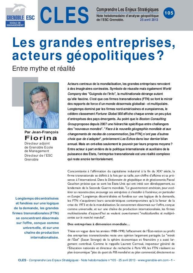 CLESComprendre Les Enjeux StratégiquesNote hebdomadaire d'analyse géopolitiquede l'ESC Grenoble. 25 avril 2013105Acteurs c...
