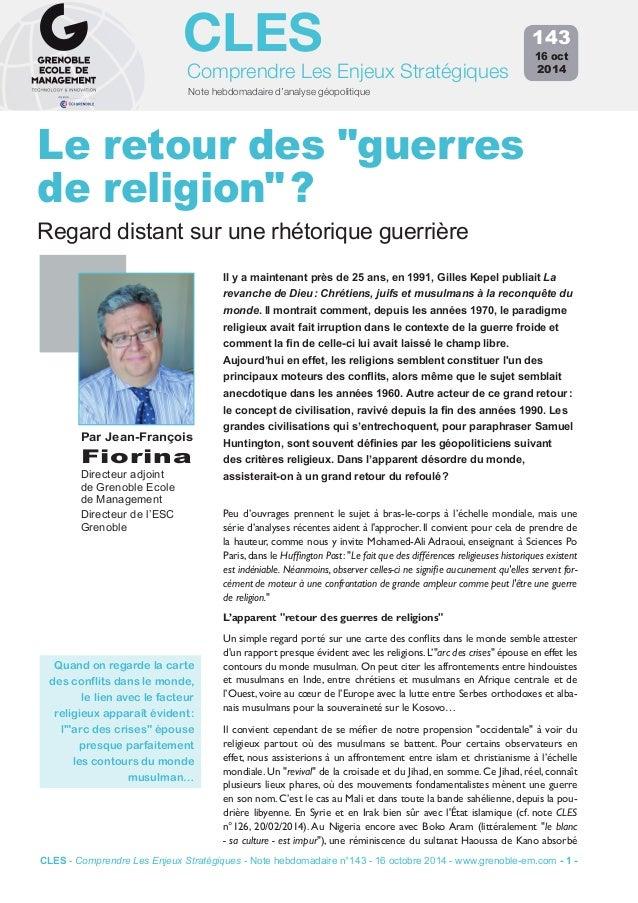 """CLES  Comprendre Les Enjeux Stratégiques  Note hebdomadaire d'analyse géopolitique  Le retour des """"guerres  de religion"""" ?..."""