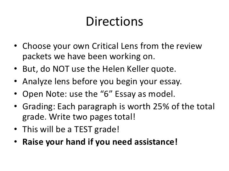 define critical lens essay