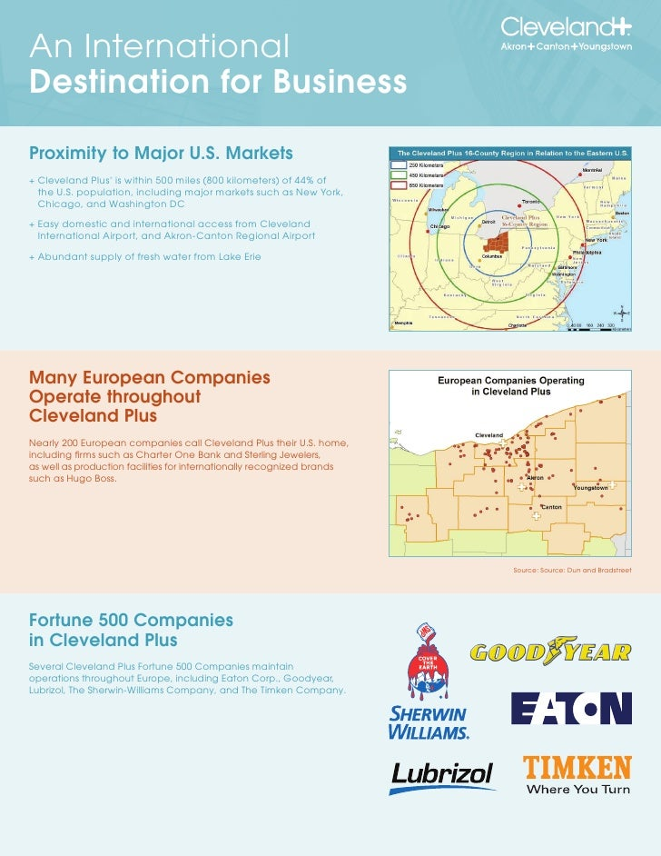 An International Destination for Business  Proximity to Major U.S. Markets + Cleveland Plus is within 500 miles (800 kilom...
