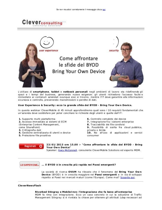 Come affrontare le sfide del BYOD, Bring Your Own Device - Clever News, 01/2013