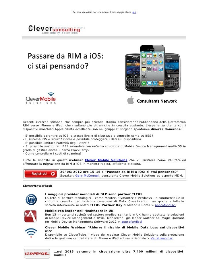 Clever Consulting Newsletter > Giugno 2012
