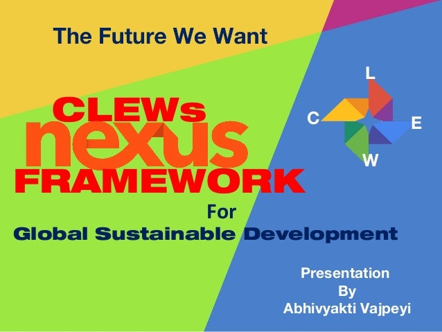 Presentation By Abhivyakti Vajpeyi CLEWs For Global Sustainable Development C L E W FRAMEWORK