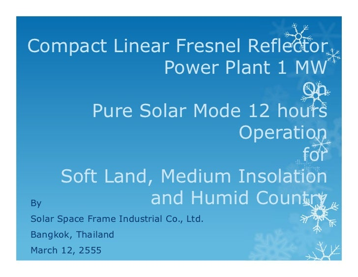 Solar Thermal Power Plant Pure Solar 12 hrs 1 MW