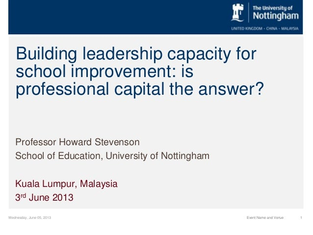 Wednesday, June 05, 2013 1Event Name and VenueBuilding leadership capacity forschool improvement: isprofessional capital t...