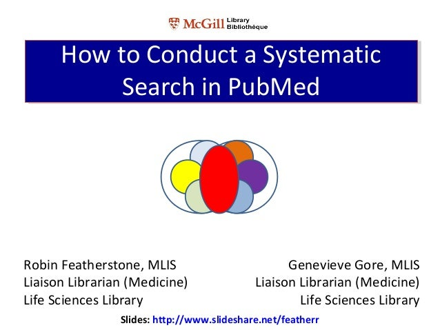 Robin Featherstone, MLISLiaison Librarian (Medicine)Life Sciences LibraryHow to Conduct a SystematicSearch in PubMedHow to...