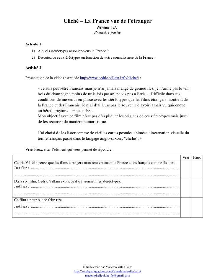 Cliché – La France vue de l'étranger                                                                                   Niv...