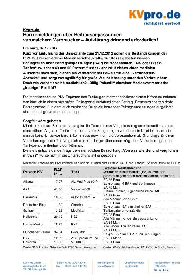 KVpro.de:Horrormeldungen über Beitragsanpassungenverunsichern Verbraucher – Aufklärung dringend erforderlich!Freiburg, 07....