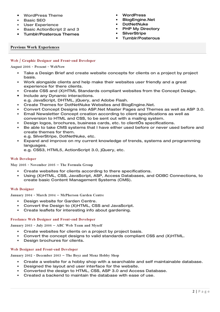 Resume For Graphic Designer