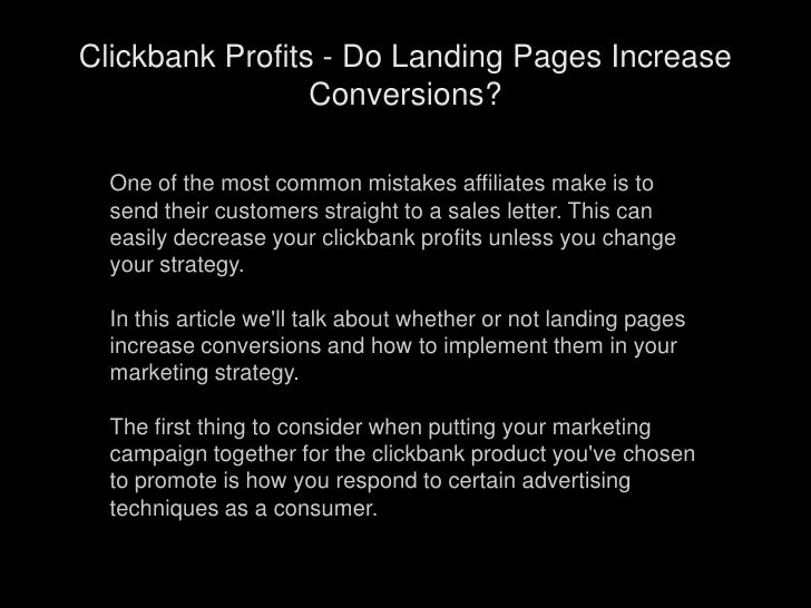 Clickbank Profits - Do Landing Pages Increase Conversions?