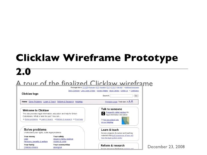 Clicklaw Wireframe Prototype 2.0 A tour of the finalized Clicklaw wireframe