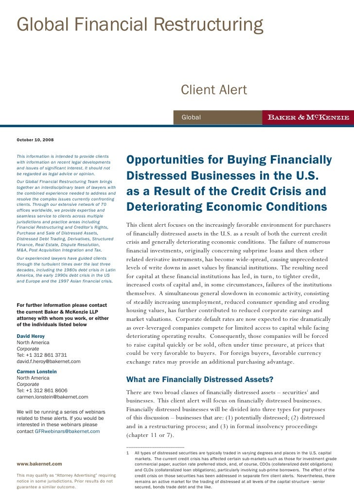 Client Alert   Opportunities For Buying Financially Distressed Businesses In The U.S.