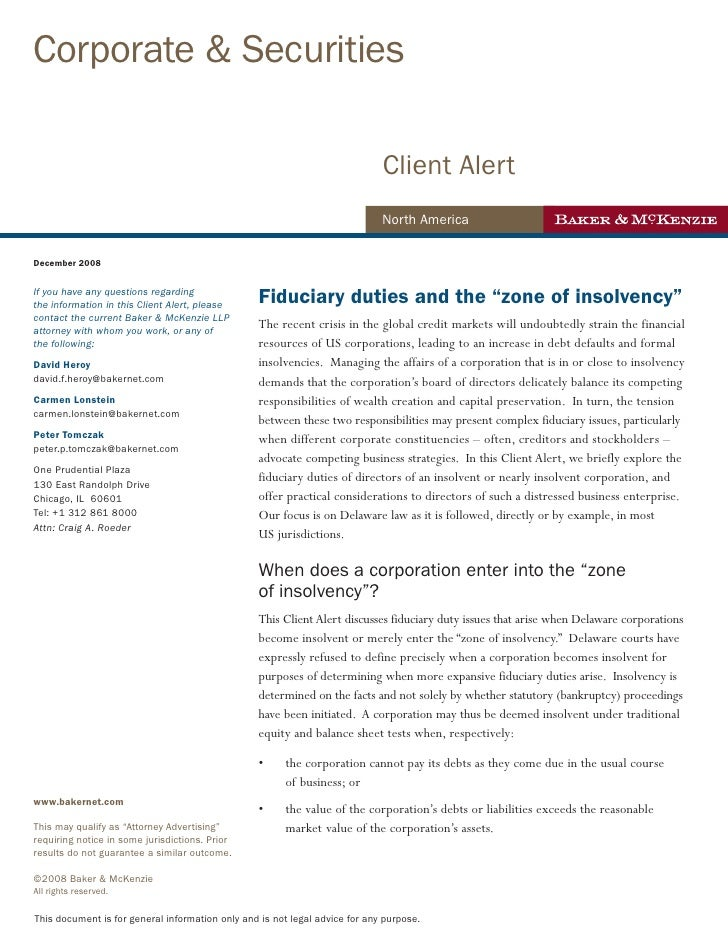 Client Alert Fiduciary Duties In The Zone Of Insolvency