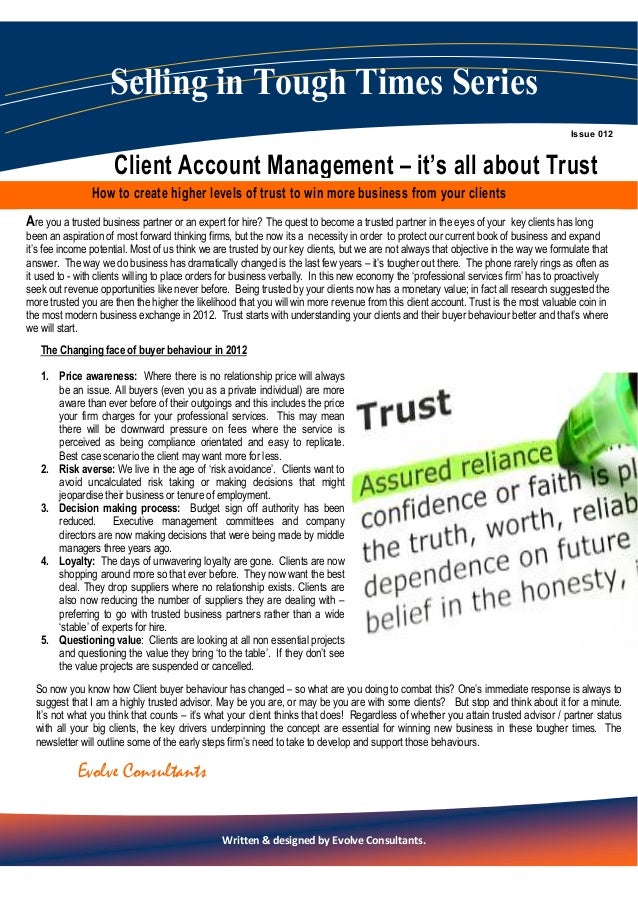 Client account management   how to become a trusted advisor - special report