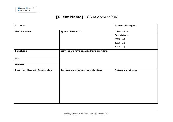 client management plan template client account plan