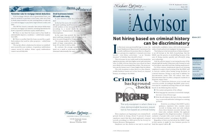 Client Advisor - Winter 2011