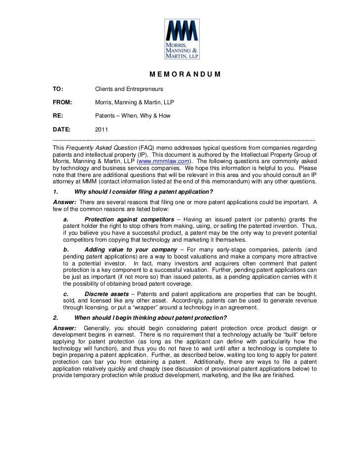 Client advisory   faq patents - 2011