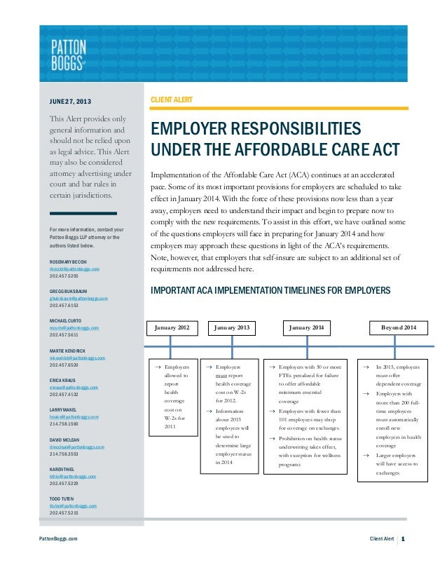Employer Responsibilities Under the Affordable Care Act