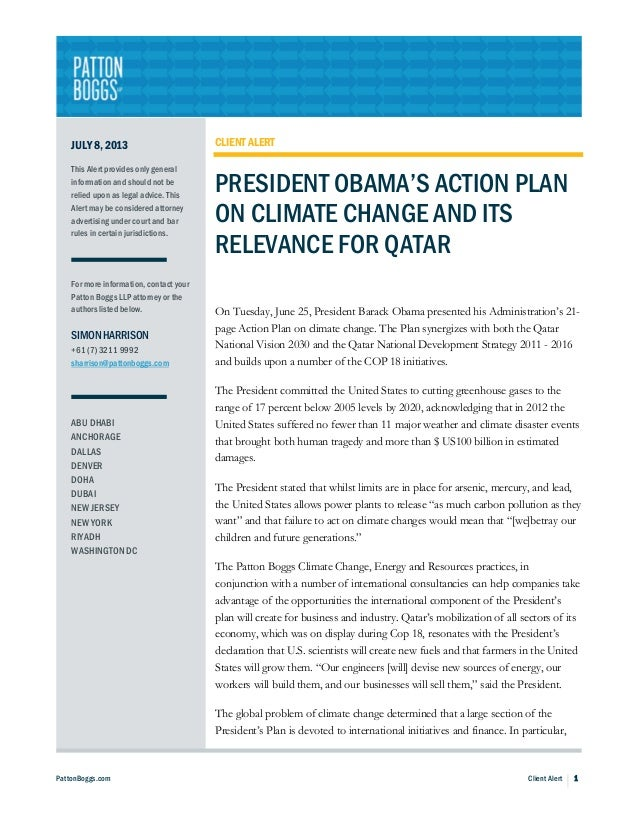 President Obama's Action Plan on Climate Change and Its Relevance for Qatar