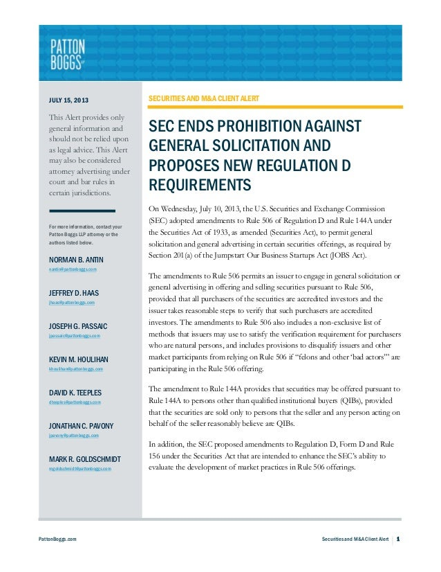 SEC Ends Prohibition Against General Solicitation and Proposes New Regulation D Requirements