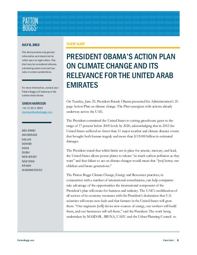 President Obama's Action Plan on Climate Change and Its Relevance for the United Arab Emirates