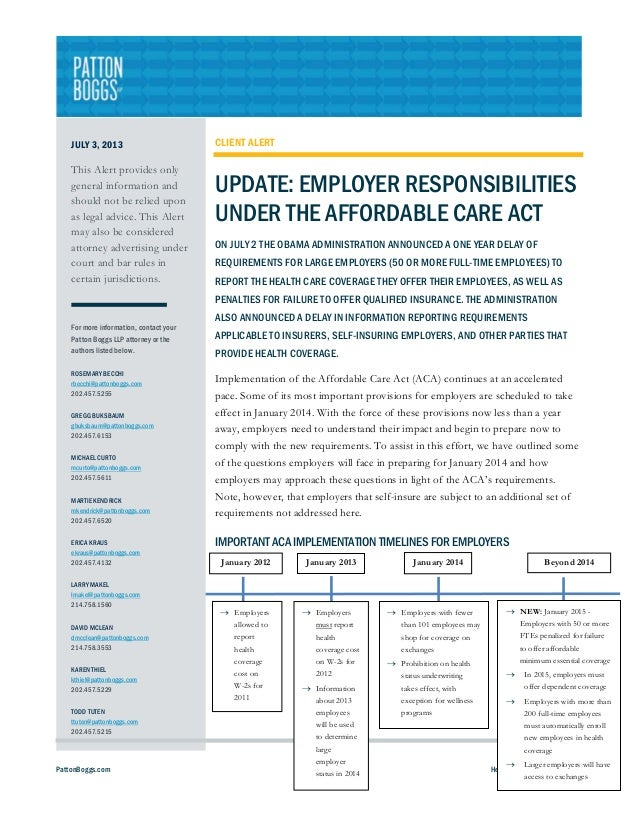 Update: Employer Responsibilities Under the Affordable Care Act