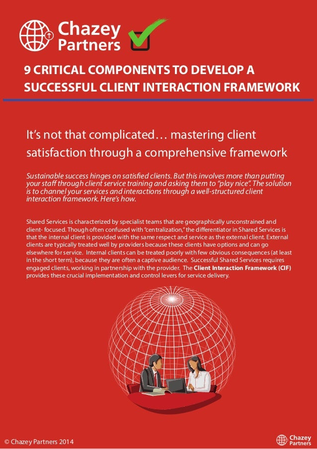 9 CRITICAL COMPONENTS TO DEVELOP A SUCCESSFUL CLIENT INTERACTION FRAMEWORK It's not that complicated… mastering client sat...