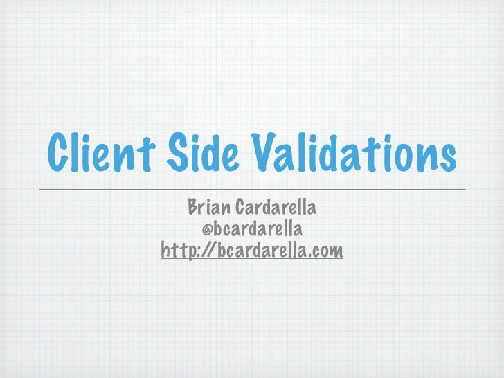 Client Side Validations