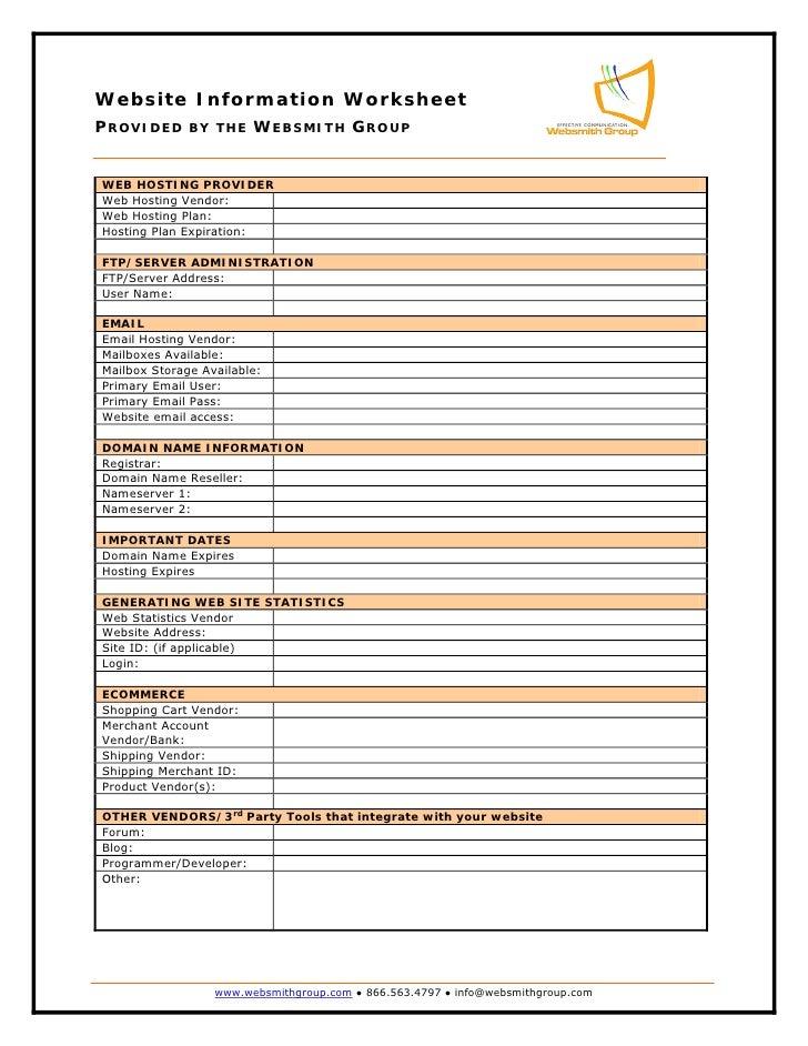 Website Information Worksheet
