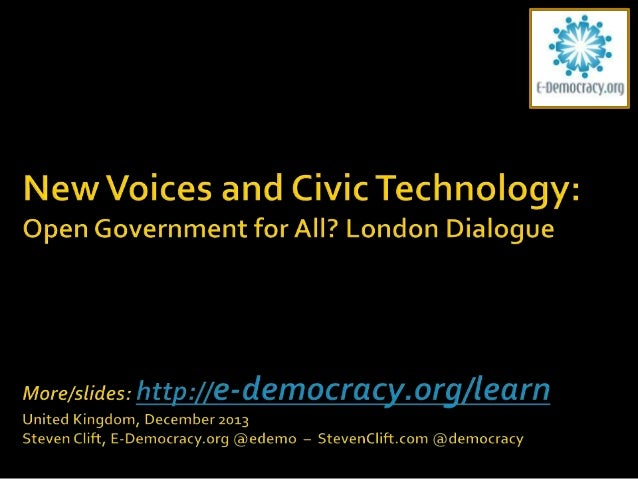        6:30 - Mingle 6:40 - Welcome and Introductions 7:10 - New Voices - Numbers and Action Steven Clift, E-Democrac...