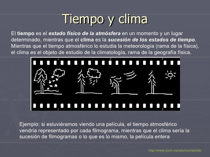Tiempo y clima El  tiempo  es el  estado físico de la atmósfera  en un momento y un lugar determinado, mientras que el  cl...