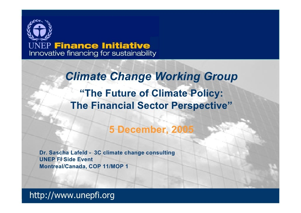 "Climate Change Working Group               ""The Future of Climate Policy:             The Financial Sector Perspective""   ..."