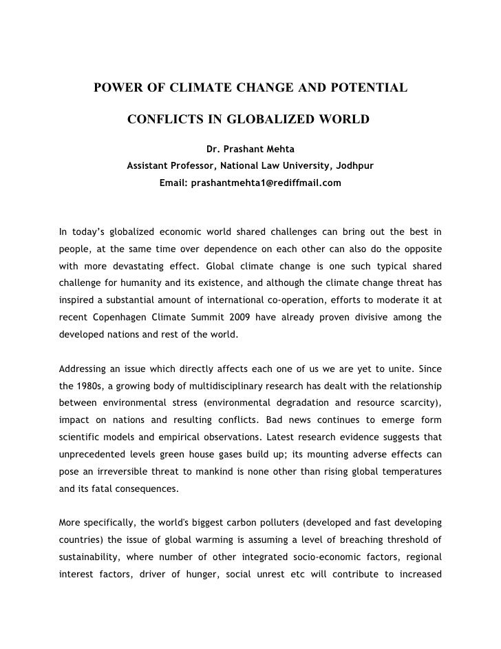POWER OF CLIMATE CHANGE AND POTENTIAL CONFLICTS IN GLOBALIZED WORLD