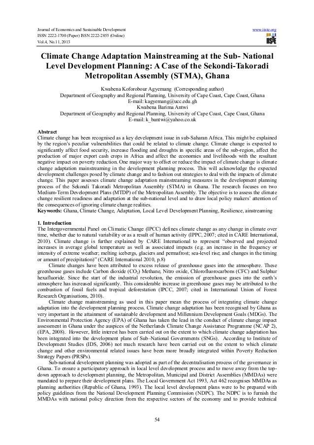 Climate change adaptation mainstreaming at the sub  national level development planning-a case of the sekondi-takoradi metropolitan assembly (stma), ghana