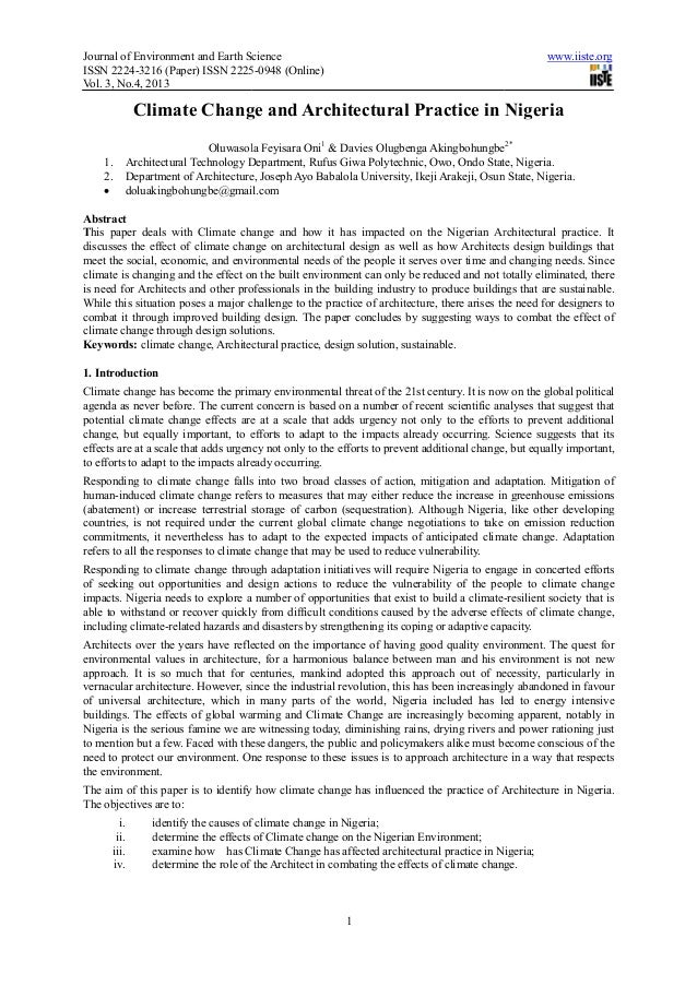 Journal of Environment and Earth ScienceISSN 2224-3216 (Paper) ISSN 2225Vol. 3, No.4, 2013Climate Change and Architectural...