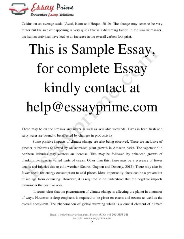 Climate change essay sample