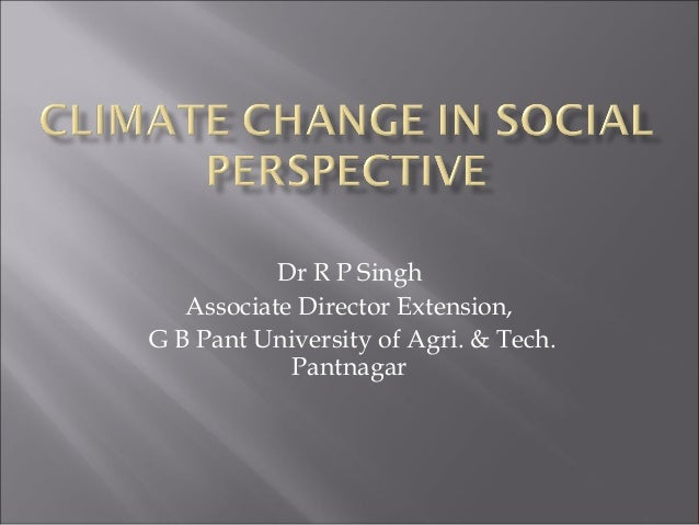 Climate change in social perspective