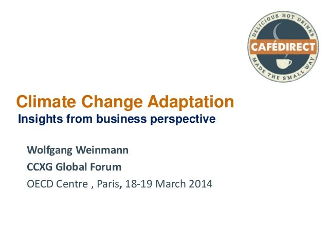 Climate Change Adaptation Insights from business perspective Wolfgang Weinmann CCXG Global Forum OECD Centre , Paris, 18-1...
