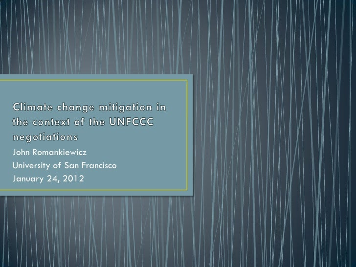 Climate change mitigation in the context of the UNFCCC negotiations