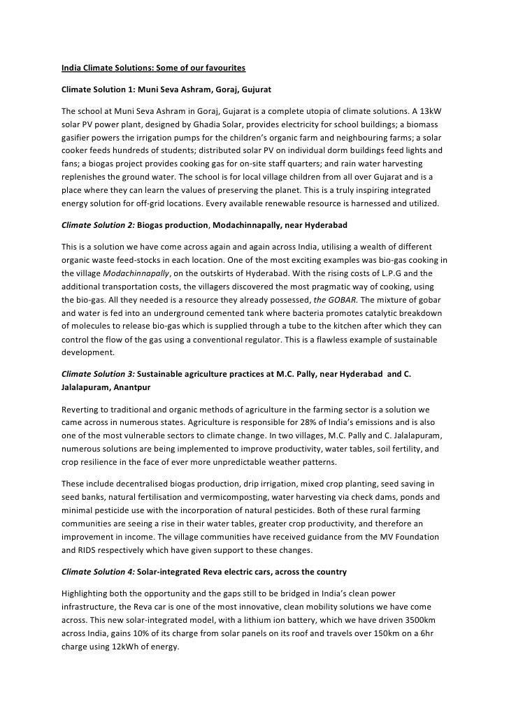 India Climate Solutions: Some of our favourites  Climate Solution 1: Muni Seva Ashram, Goraj, Gujurat  The school at Muni ...
