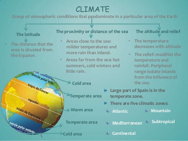 CLIMATE Group of atmospheric conditions that predominate in a particular area of the Earth  The latitude • The distance th...