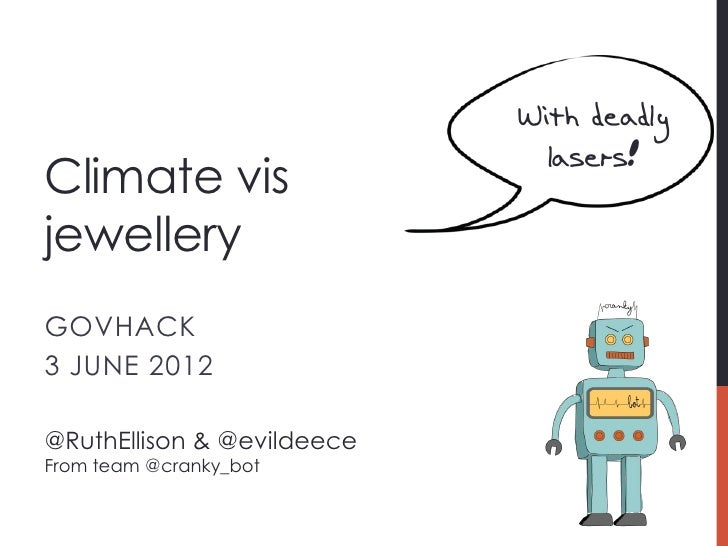 With deadly                              lasers!Climate visjewelleryGOVHACK3 JUNE 2012@RuthEllison & @evildeeceFrom team @...