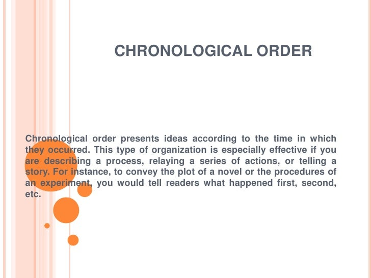 chronological order essays An order qualifier is a characteristic of a product or service that is required in order for the product/service to even be considered by a customer an order winner is a characteristic that.