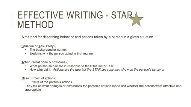 effective writing star method a method for describing behavior and
