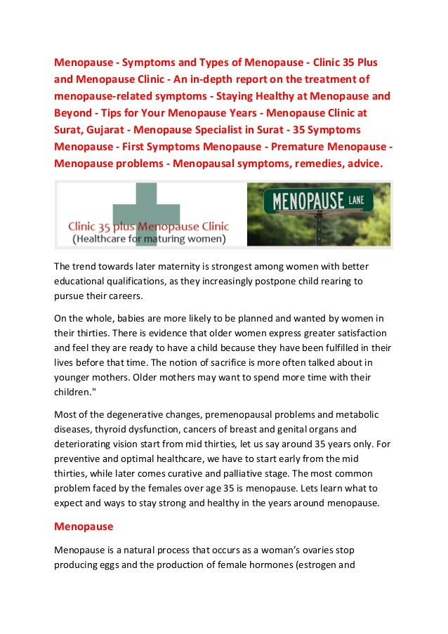Menopause - Symptoms and Types of Menopause - Clinic 35 Plus and Menopause Clinic - An in-depth report on the treatment of...