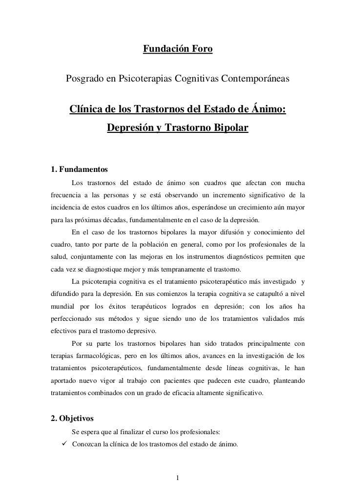 Fundación Foro     Posgrado en Psicoterapias Cognitivas Contemporáneas      Clínica de los Trastornos del Estado de Ánimo:...