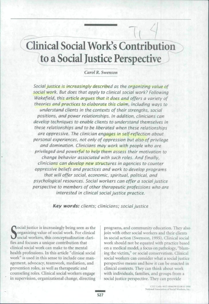 ( Clinical Social Work's ContributiorT)           to a Social Justice Perspective ^                                       ...